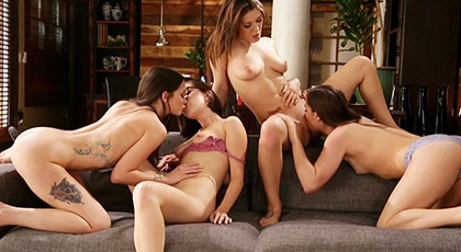 Lesbian orgy of four hot friends