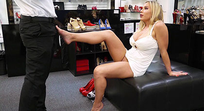 Fucking with a mature busty in the shoe store
