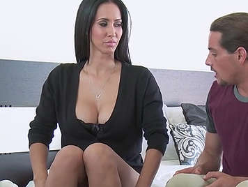 Sex with a mature brunette with huge boobs