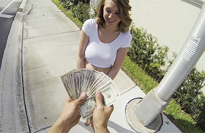 Busty blonde girl with big ass fucks for money