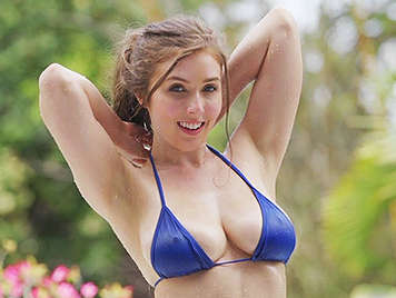 Busty babe with natural tits in bikini fuked hard