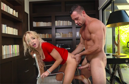 Hard sex in the office with the young novice secretary