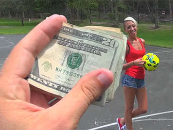 Girl sucking a cock for money after losing a bet