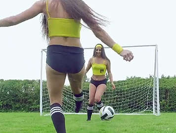Soccer referee fucking with Amirah Adara and Mea Melone on the pitch