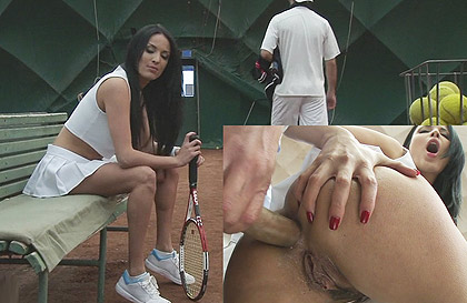 Mature tennis player with big tits brutally fucked on the track