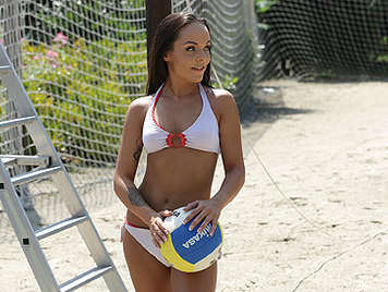 Beach volleyball girl in bikini fucked like a bitch on all fours