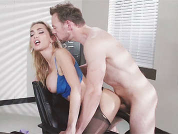 Fucking hard on a doggy style to a blonde busty secretary in a office