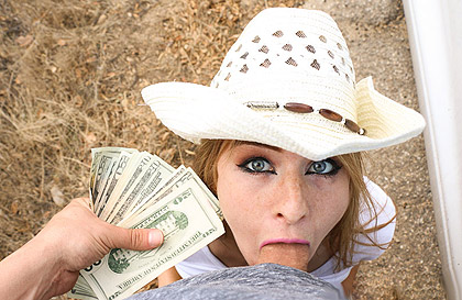 Peasant blue-eyed blonde sucking and fucking a thick cock for money