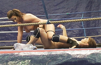 Girls fight on a ring until the two are completely naked
