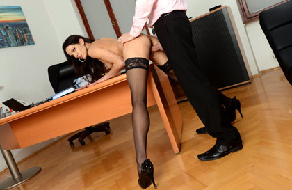 Sexy slim secretary brunette fucking with cock in mouth making a blowjob filling her mouth with a cumshot