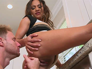 Hot in the kitchen fucking with a horny housewife