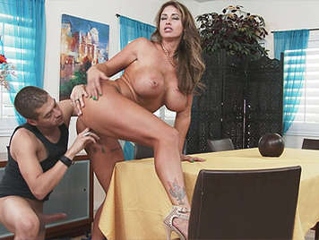 Mature busty doggy style fucked on the table
