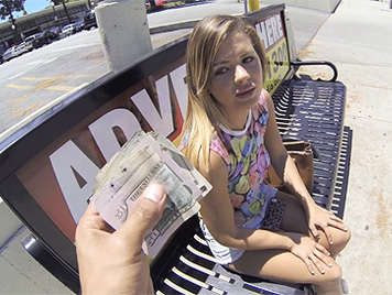 Blonde girl with natural tits accept money in exchange for sex