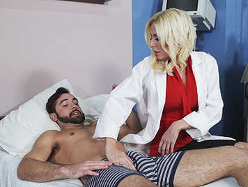 Dr Blonde with big tits knows where to play to get the hard cock