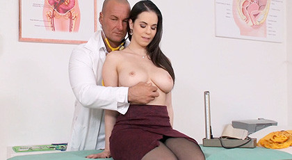 Hot busty visit the doctor for a complete review of her pussy