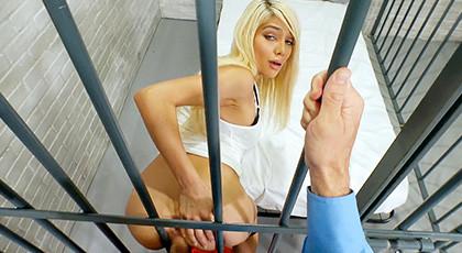 Nasty Blonde Elizabeth Jolie Bangs Dude in Uniform
