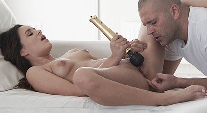 Cindy first porn scene, with sex toy and wanting cock