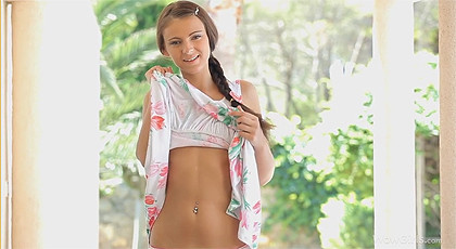 Thin russian babe with braid  in sensual porn video