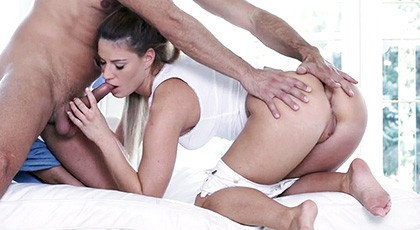 Athina plays with the cock of her boy to put it in her tight asshole