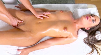 Blue Angel, excited during the massage, grabs the first cock she has on hand