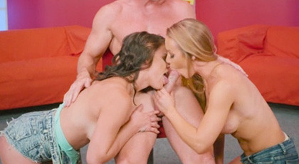 Nicole Aniston and Peta Jensen vice and much experience in a wild threesome