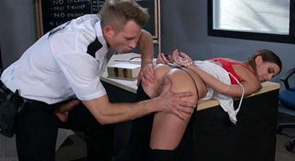 Brooklyn Chase, fucked in the ass by college security guard