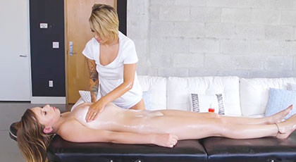 Pressley Carter and Alex Blake get carried away by the passion of a hot massage