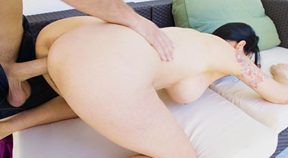 Angie Noir fucking on all fours and giving everything up to the cumshot