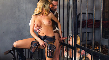 Jessa Rhodes and her detained Misha Cross fuck with the sherif