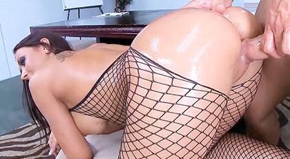 Secretary in erotic stockings, Rachel Starr