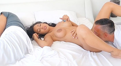 Fucking with Amia Miley while her husband sleeps