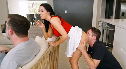 Married slut fucks in front of her husband