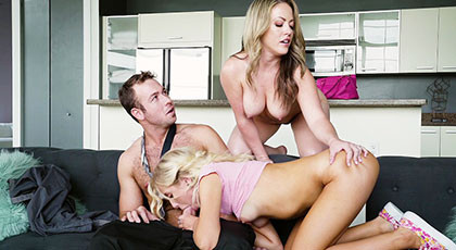 Big threesome with my girlfriend and sister