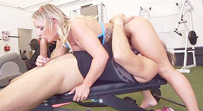 The sluttest gym trainer fucks hard with her clients