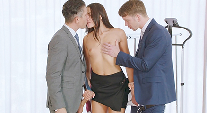 Anal threesome of an executive with her co-workers