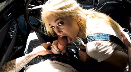 POV sex in the car with excited girl