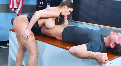 Fucked hard by her busty teacher
