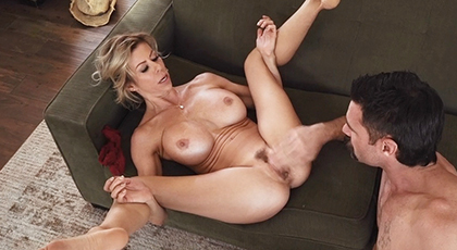 Hard sex with mature neighbor and cumshot on her big tits