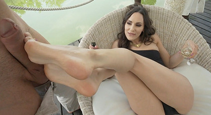 Brunette loves to fuck with her feet and anal sex