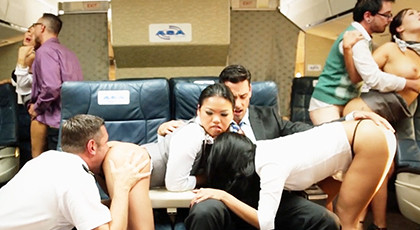 Great Orgy with the flight attendants on the plane