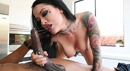 Interracial with vicious tattooed brunette