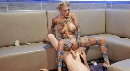 Hard sex with a totally tattooed blonde