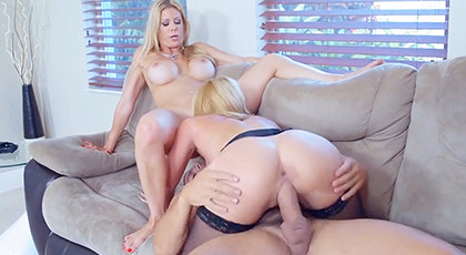 Threesome with hot mother and daughter