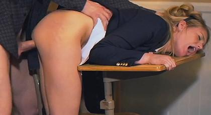 Teacher cums on a student\'s pussy