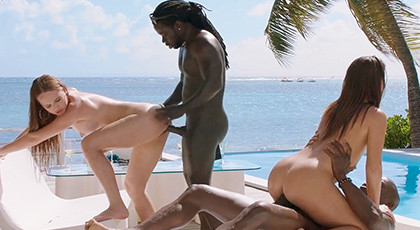 Interracial foursome in a luxury house
