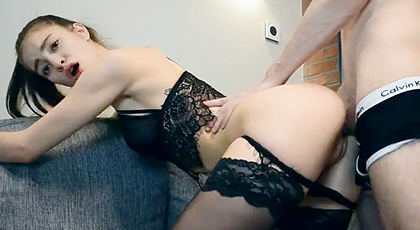 Amateur videos, homemade sex with his girlfriend in lingerie
