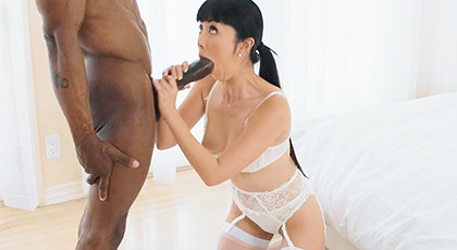 Asian has fun with huge cock