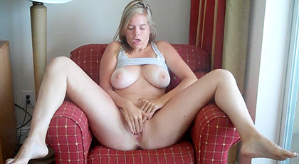 Amateur videos, natural busty blonde masturbates
