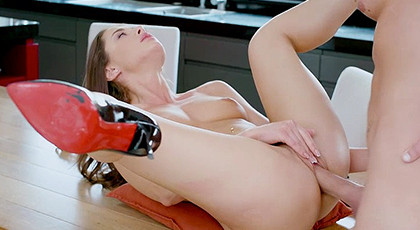 Open legs in the kitchen