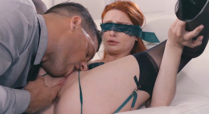 Erotic games with a hot redhead